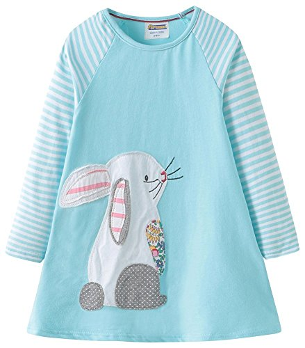 Fiream Girls Cotton Casual Longsleeve Stripe Applique Dresses(Bunny,4T/4-5YRS) for $<!--$17.99-->