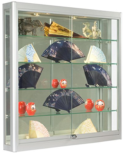 Wall-Mounted, Silver Aluminum Glass Display Case, Illuminated, Locking Sliding Glass Doors, Ships Fully Assembled - Used Glass Display Cases