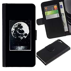 Billetera de Cuero Caso Titular de la tarjeta Carcasa Funda para Apple Iphone 5 / 5S / Moon Night Poster Halloween / STRONG