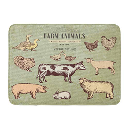 (Emvency Doormats Bath Rugs Outdoor/Indoor Door Mat Etching Farm Animals Vintage Collection Cow Pig Goat Sheep Chicken Duck Goose Turkey Rabbit Lamb Bathroom Decor Rug Bath Mat 16