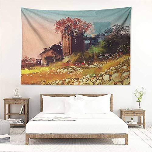 Fantasy,Home Decor Tapestry Scene of Wooden Rustic Barn on Fall Season Valley Idyllic Countryside Nature Rural 93W x 70L Inch Printed Wall Hanging Multicolor Barn Scene Wall Calendar