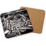MUSCLE CAR ENGINE DRINKS COASTER MAT CORK SQUARE SET X4 - Hot Rod American Race by Gift Base