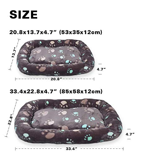 Allisandro Dog Bed | Anti-Slip Soft Pet Crate Kennel Pad - Washable Dog Mattress Pet Bed for Dogs & Cats, Grey L:33.4x22.8x4.7 by Allisandro (Image #2)