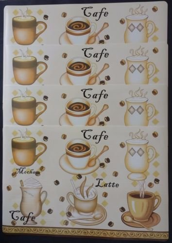 The Pecan Man Home Collection Vinyl Coffee Cafe Latte Everyday Kitchen Set of 4 Placemats (Extra Cotton Loom Bands compare prices)