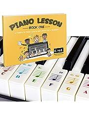 Färg piano och tangentbord klistermärken och komplett färganteckning piano lektion och guidebok