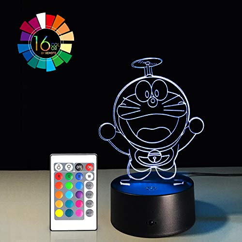 Cartoon 3D Illusion LED Night Light 7 Colors Gradual Changing Touch Switch USB Table Lamp Remote Control Nursery Lights for Gift Home Decorations (Doraemon 2 Ver)(1PC) -