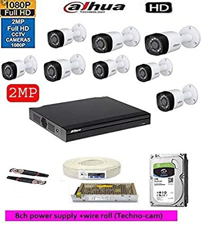 DAHUA Full HD 2MP Cameras Combo KIT 8CH HD DVR+ 8BULLET Cameras+1TB Hard  DISC+ Wire ROLL +Supply & All Required Connectors