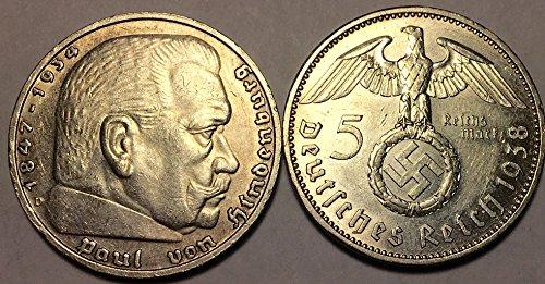 - 1936 DE - 1939 Nazi German Five Reichsmark WWII $5 Reichsmark Choice Very Fine Details