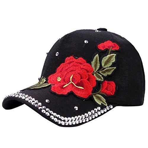 Koolsants 1pc Baseball Cap Adjustable Adult Men Women Embroidery Rose Print Sport Classic Outdoor Visor Hat with Diamond, Black