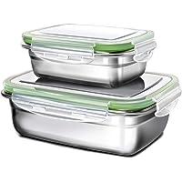 GA Homefavor Lunch Box Edelstahl Lebensmittel Obst Salat Container (Weiß, 2er Set)