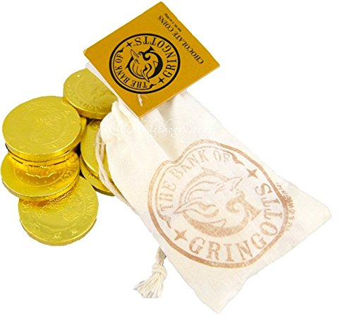 Wizarding World of Harry Potter : Goblin Bank of Gringotts Cloth Bank Bag with Gold Foil Wrapped Chocolate Coins
