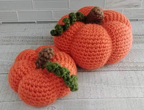 Crochet Pumpkin Fall Deco- Halloween Deco- Traditional Pumpkins- Crocheted orange pumpkins set of 2
