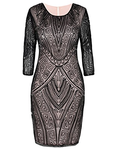 PrettyGuide Women's Gatsby Dress Art Deco Inspired Long Sleeve Vintage Flapper Dress M Black Beige -