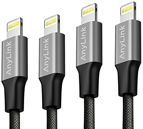 Lightning Cable, Anylink iPhone Cord 4 Pack Assorted Lengths (2x3ft, 2x6ft), Nylon Braided Lightning Cord, Durable and Fast Charging for iPhone 7 Plus 6s Plus 6 SE 5S, iPad Mini Air, iPod by AnyLink