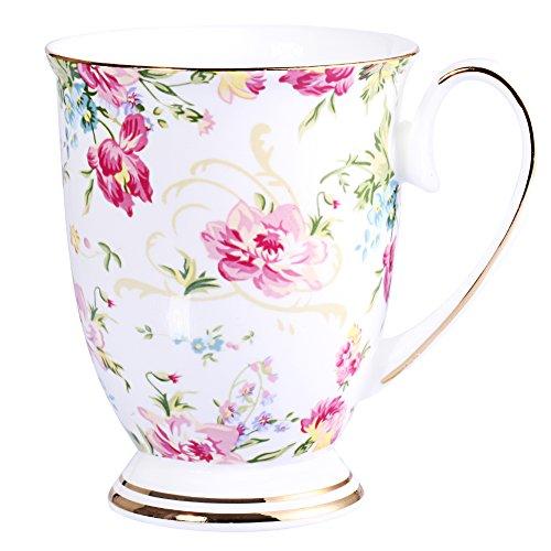 AWHOME Royal Fine Bone China Coffee Mug Assorted colors Tea Cup 11 oz (1, color) (Pretty Coffee Cups)