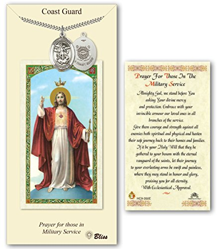 Pewter Saint Michael Coast Guard Service Medal with Laminated Holy Prayer (Coast Guard Medal)
