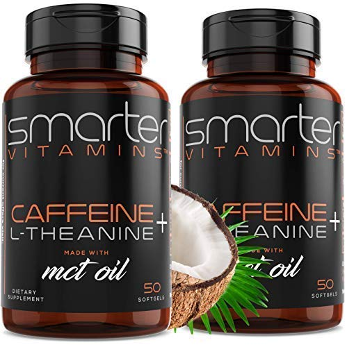 (2-PACK) KETO 200mg CAFFEINE PILLS + MCT Oil from 100% Coconuts 100mg L-Theanine for Advanced Energy, Enhanced Focus and Clarity + Extended Release