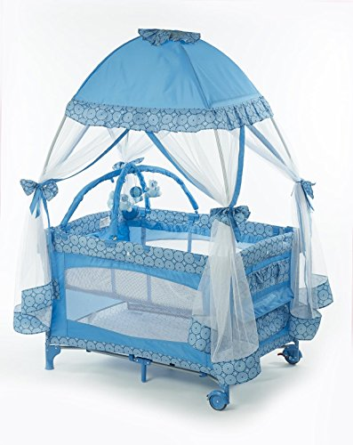 Big Oshi Playard With Mosquito Net And Carry Bag, Light Blue