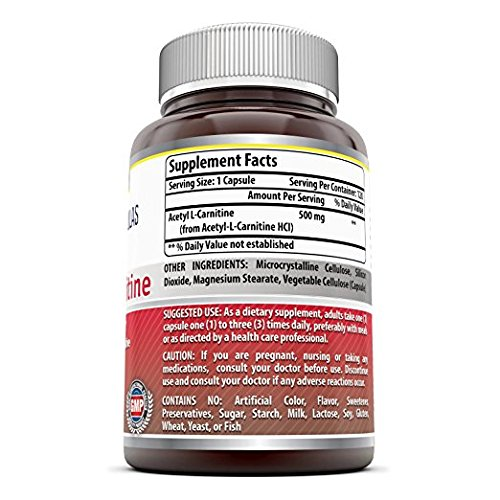 Amazing Formulas Acetyl L carnitine 500 Mg 120 Vcaps Mitochondrial Energy Optimizer