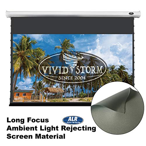 VIVIDSTORM Office/Home 8K/3D/UHD,Ceiling and Wall,Deluxe Tab-tensioned Screen,Electric Drop Down Screen,120-inch Diag 16:9, Ambient Light Rejecting Screen, Wireless 12V Projector Trigger,V6JLALR120H