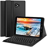 CHESONA Galaxy Tab A 10.1 Keyboard Case Compatible Samsung Galaxy Tab A 10.1 inch SM-T580/T585 Ultra Slim PU Leather Stand Flip Detachable Wireless Keyboard Cover (No S Pen) Andriod Tablet-Black