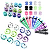 JOVIVI 48pcs Acrylic Spike Tapers & Screw Tunnel Plug & Spiral Snail Plugs & Double Flared Thin Silicone Tunnels Set Ear Stretching Gague Kit 2G