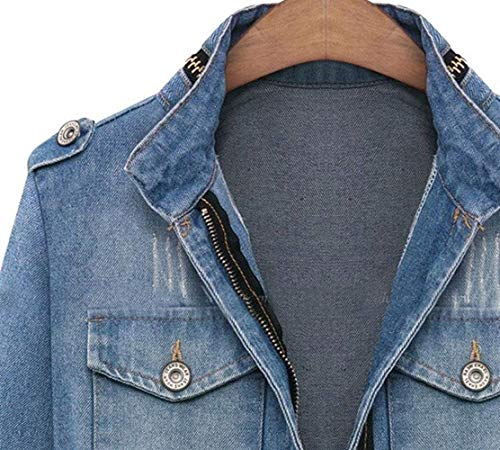 Ragazza Forti Maniche Distressed Donna Autunno Taglie Giacca Relaxed Outerwear Cappotto Chic Jacket Zip Lunghe Blau Moda Jeans Eleganti Invernali Casual Vintage qt0fgHz