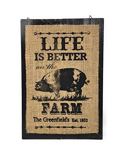 "Farmhouse Country Style Kitchen Decor Wood Burlap Sign Plaque 16"" x 11"" (Pig)"