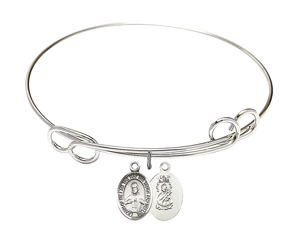 Rhodium Plate Double Loop Bangle Bracelet with Sacred Heart Scapular Petite Charm 7 1//2 Inch