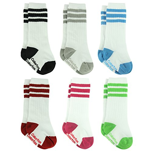 6 Pairs Newborns Tube Socks,Baby Girl Boy Knit-in Cotton Triple Striped Walking Socks Colorfox