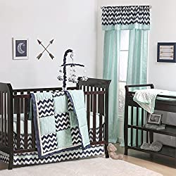 Navy Blue Zig Zag and Mint Green Arrow 4 Piece Crib Bedding Set by The Peanut Shell
