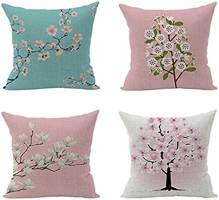 Fossrn Fundas Cojines 45x45, Vintage Flor Algodón Lino Funda de Cojines para Sofa Jardin Cama Decorativo (4PC): Amazon.es: Hogar