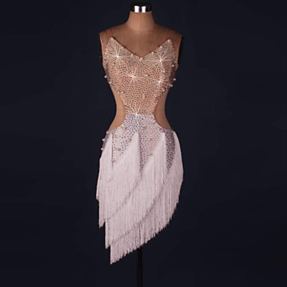 ラテンダンスドレス女性のパフォーマンススパンデックスタッセル結晶ラインストーンノースリーブドレスフェスティバルコスチューム 白い XXXL