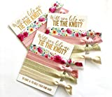 Bridesmaid Proposal Set | Will You Help me Tie The Knot?| Hair Tie Favors | to Have & to Hold Your Hair Back (10, White Card + Gold Ink)