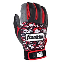 Franklin Sports Adult MLB Digitek Batting Gloves, Adult Small, Pair, Grey/Black/Red Digi