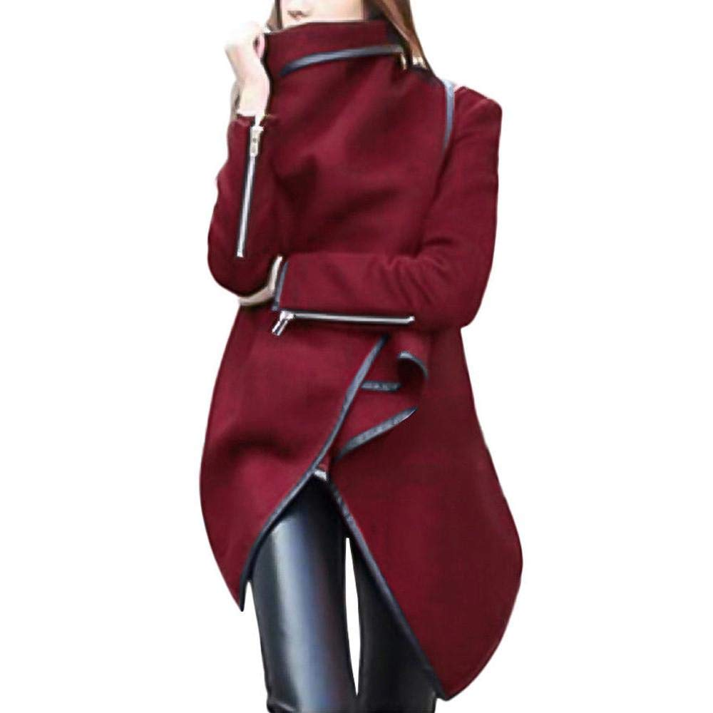 Oliviavan Ladies Irregular Coat, Long Warm Wool Jacket Bow Zippers Sleeve Parka Windbreaker