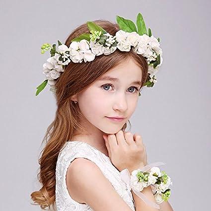 Juego De Corona Y Pulsera De Estilo Bohemio Para Niñas Con Flores Y Hojas Para Novia Y Dama De Honor De Aukmla Amazon Es Belleza