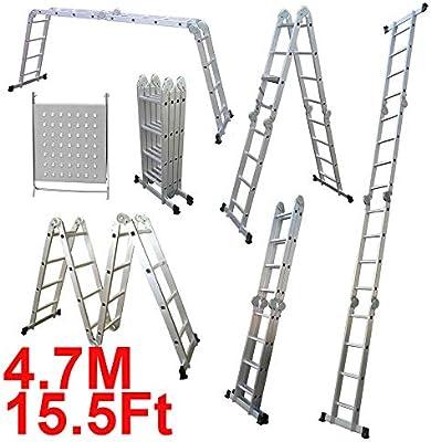 Escalera de aluminio multifunción, 4 x 4 secciones 14 en 1 (15.5 pies) 4,7 m, plegable, con marco recto y montura en forma de A, para uso en interiores y exteriores: Amazon.es: Bricolaje y herramientas