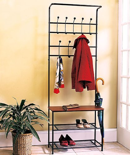 Entry Way Hall Rack w/ Hooks Iron Hook Coat Hat Jacket Hanging Organizer Holder Display Rack