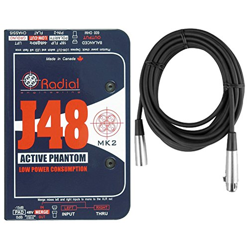 Radial Engineering J48 MK2 48V Phantom Power Active Direct Box DI w/ Mic Cable by Radial