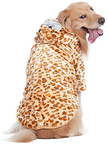 Dorothy The Dino Costumes (XIHAROOM Large Dog Winter Hoodie,Husky cold weather sweater Golden Retriever Flannel Warm Coat For Medium to Large Dogs 24/M(leopard print))