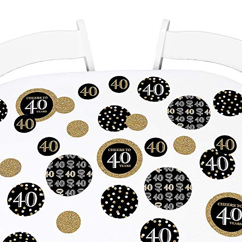 Big Dot of Happiness Adult 40th Birthday - Gold - Birthday Party Giant Circle Confetti - Party Decorations - Large Confetti 27 Count