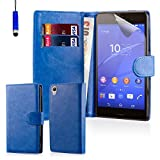 32nd® Book wallet PU leather case cover for Sony Xperia Z3 mobile phone - Deep Blue