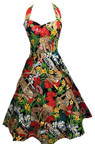 Boolavard Women's Vintage 1950sホルターネックオードリーヘップバーンドレス50sレトロスイングドレス(ベルト付)