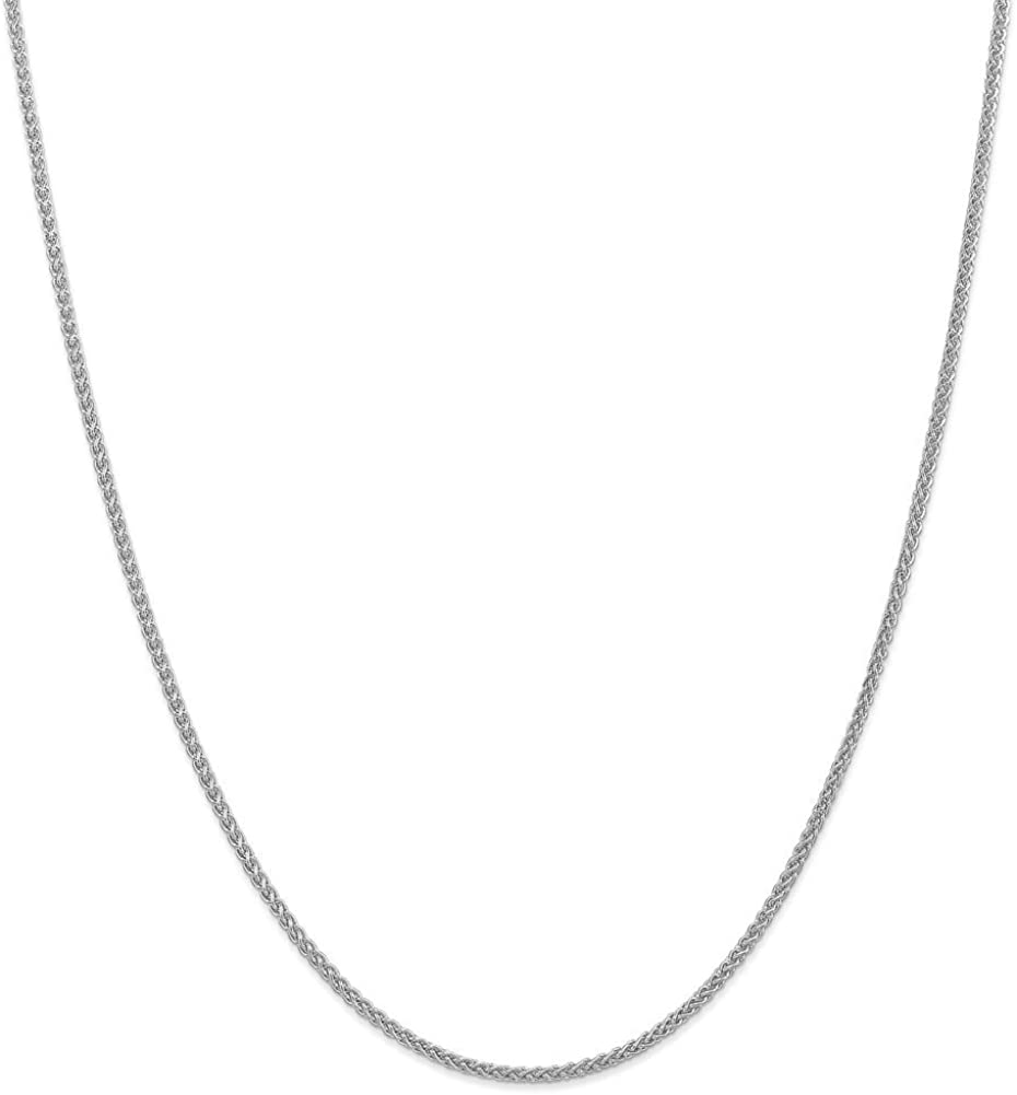 Lex /& Lu 14k White Gold 2.00mm Semi-solid Wheat Chain Anklet Bracelet or Necklace