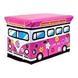 NUOLUX Bus Style Children Folding Kids Storage Box Seat Pop Up Toy Chest (Random Color)