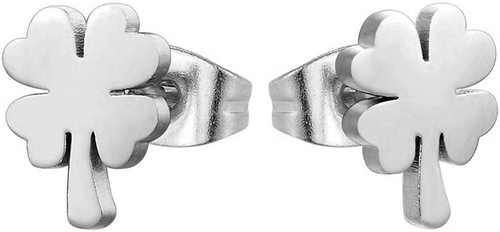 Pendientes Tréboles de Diseño Dorados y Plateados con cierre de Mariposa para Mujer – Amuleto buena suerte en elegante caja de Joyería