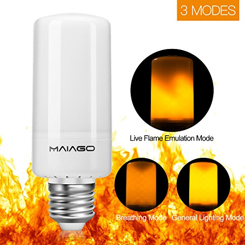 Price comparison product image Flame Bulb,  MAIAGO E26 / E27 LED Flame Effect Light Bulb,  3 Modes 99pcs 2835 LED Beads Flicking Fire Atmosphere Decorative Lamps for Christmas Decoration / Hotel / Bars / Home / Restaurants