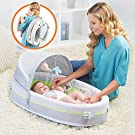 LulyBoo Travel Bassinet - Premium Portable Baby Lounge - With Activity Bar And Rattle Toys