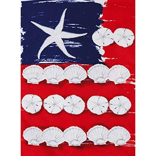 Evergreen Flag Patriotic Seashells Garden Linen Flag